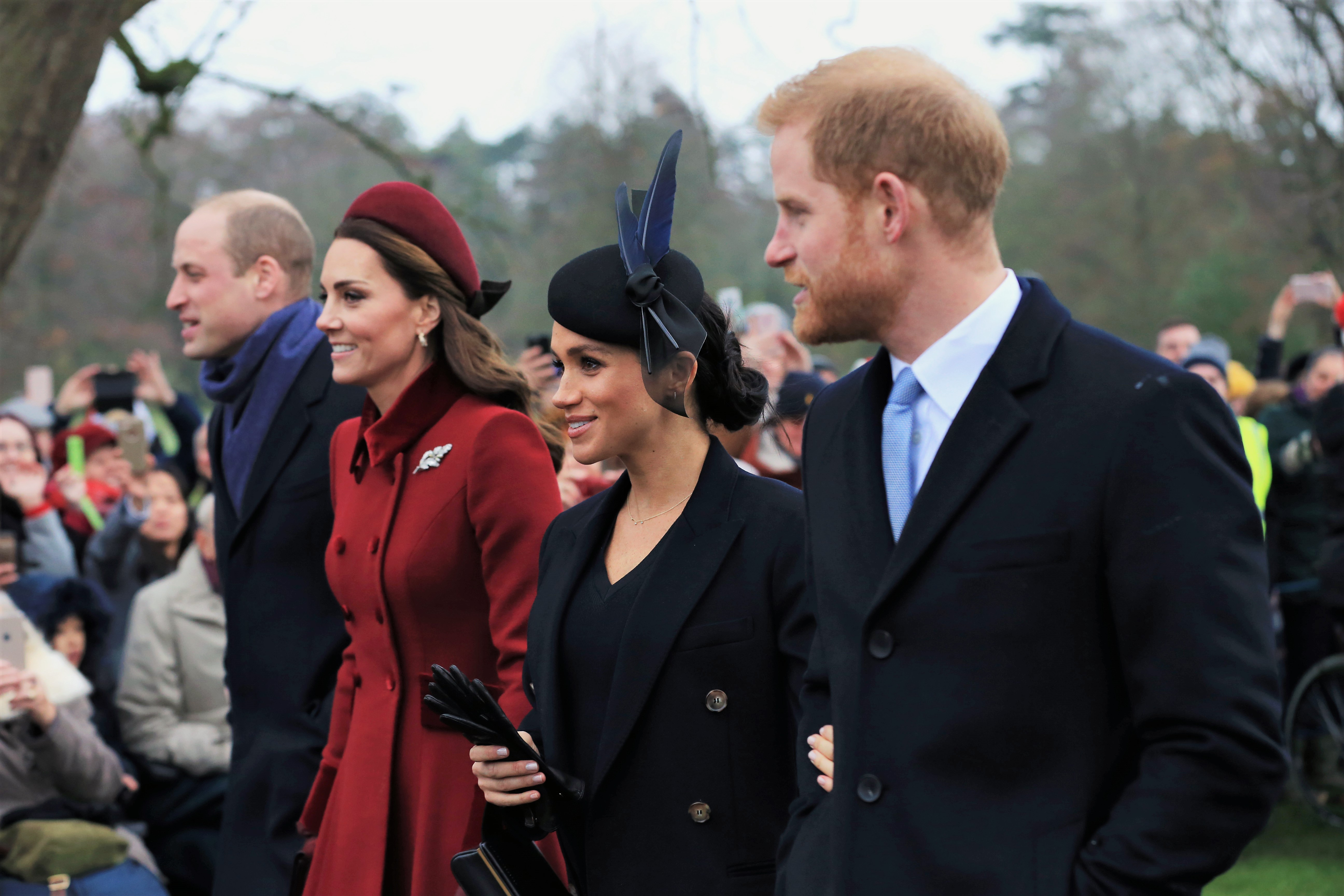 Prince William Kate Middleton Meghan Markle and Prince Harry Walking Arms Linked