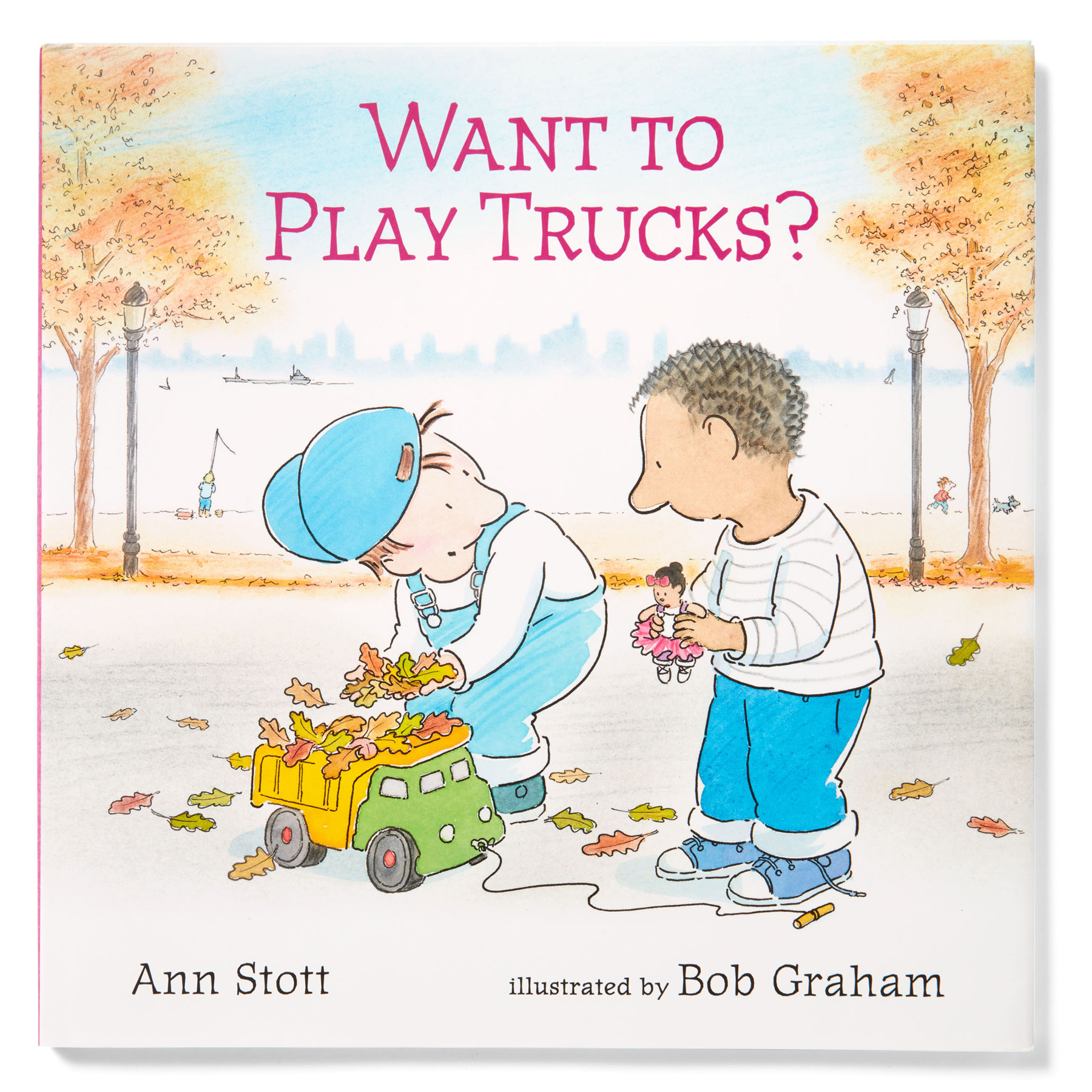 children's illustrated book cover entitled want to play trucks