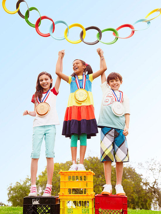 Kids on Olympic stand