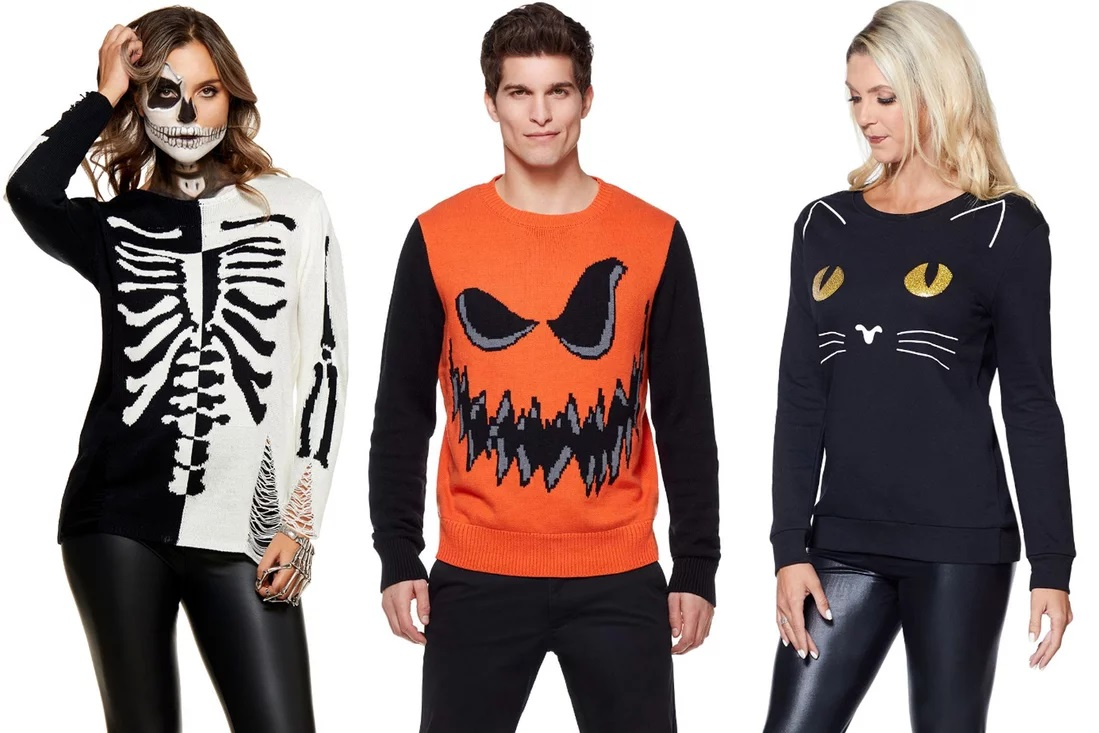 Skeleton Scary Pumpkin and Black Cat Sweaters