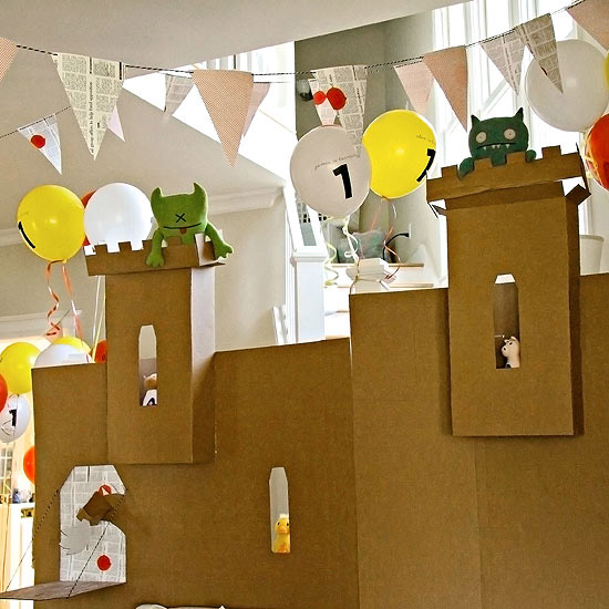 castle made out of cardboard box