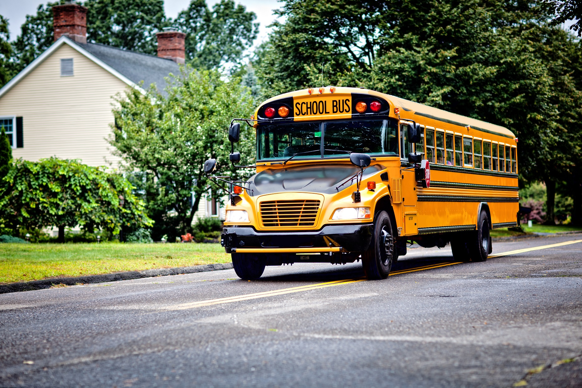 School Bus Driving on Street