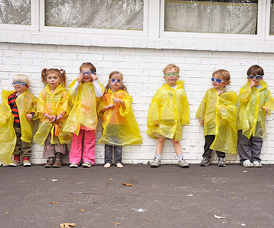 party guests in rain gear