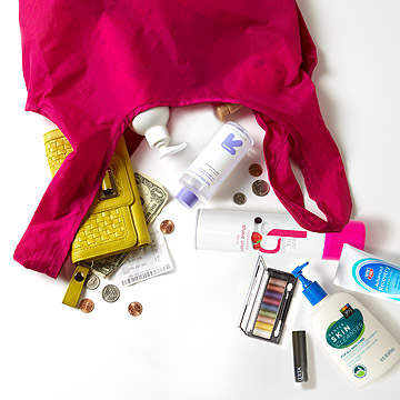 beauty products in a bag