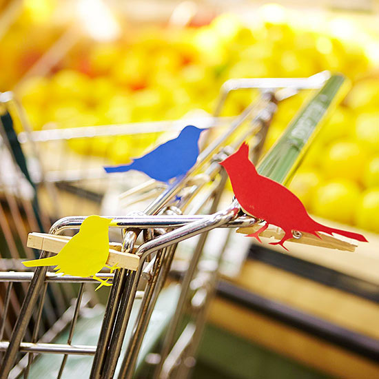 Paper birds on grocery carriage