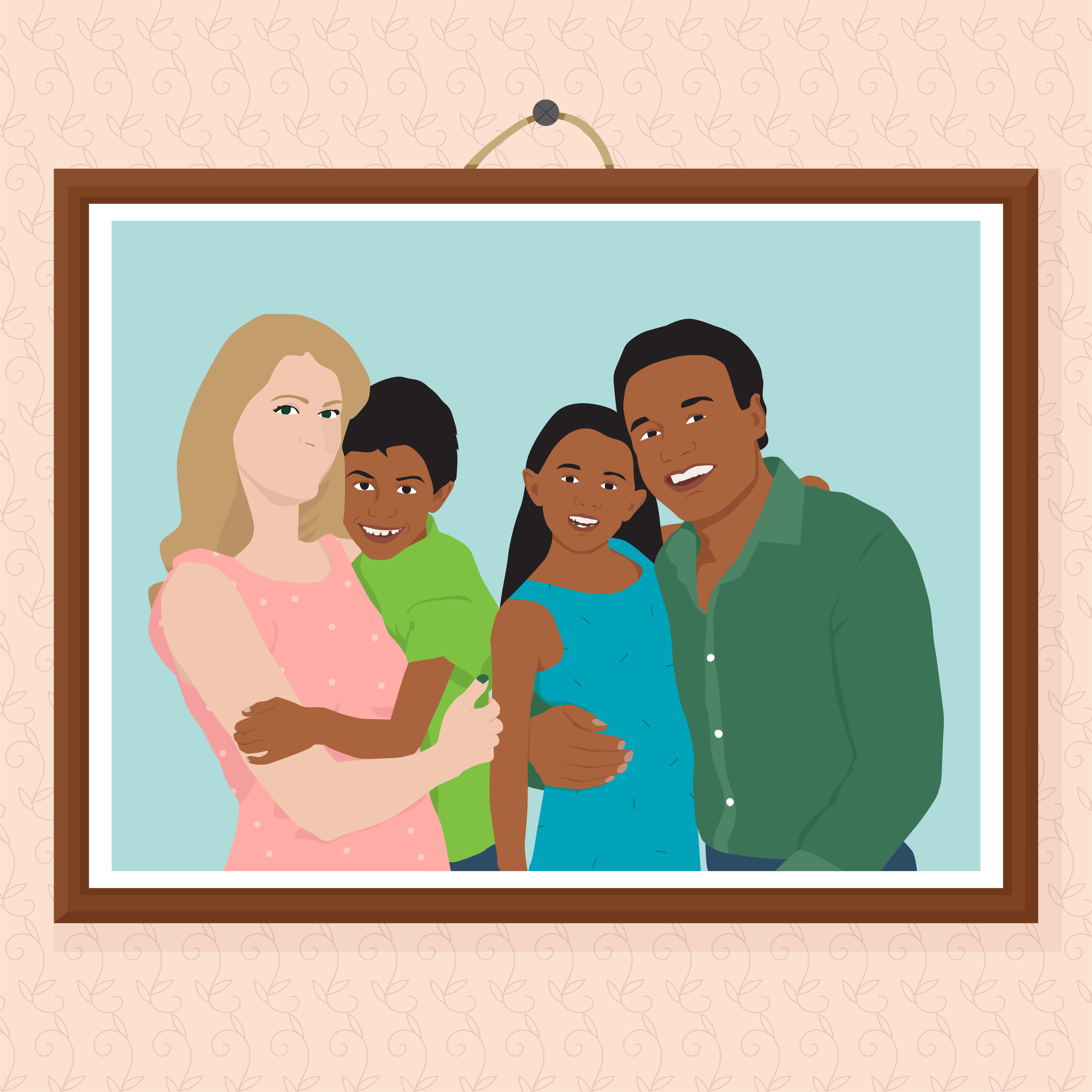 illustration of family with stepmom with no mouth