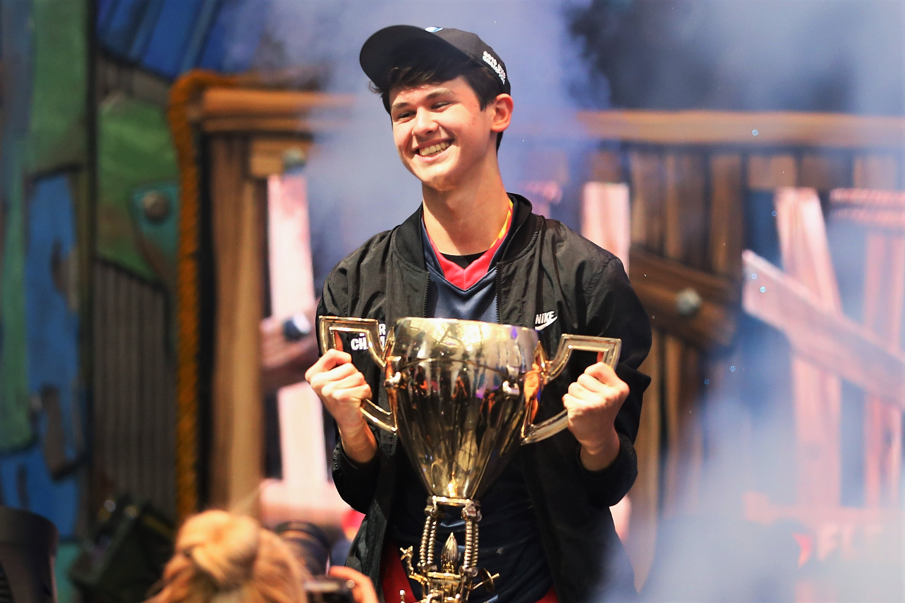 Kyle Giersdof Holding Trophy Fortnite World Cup Finals