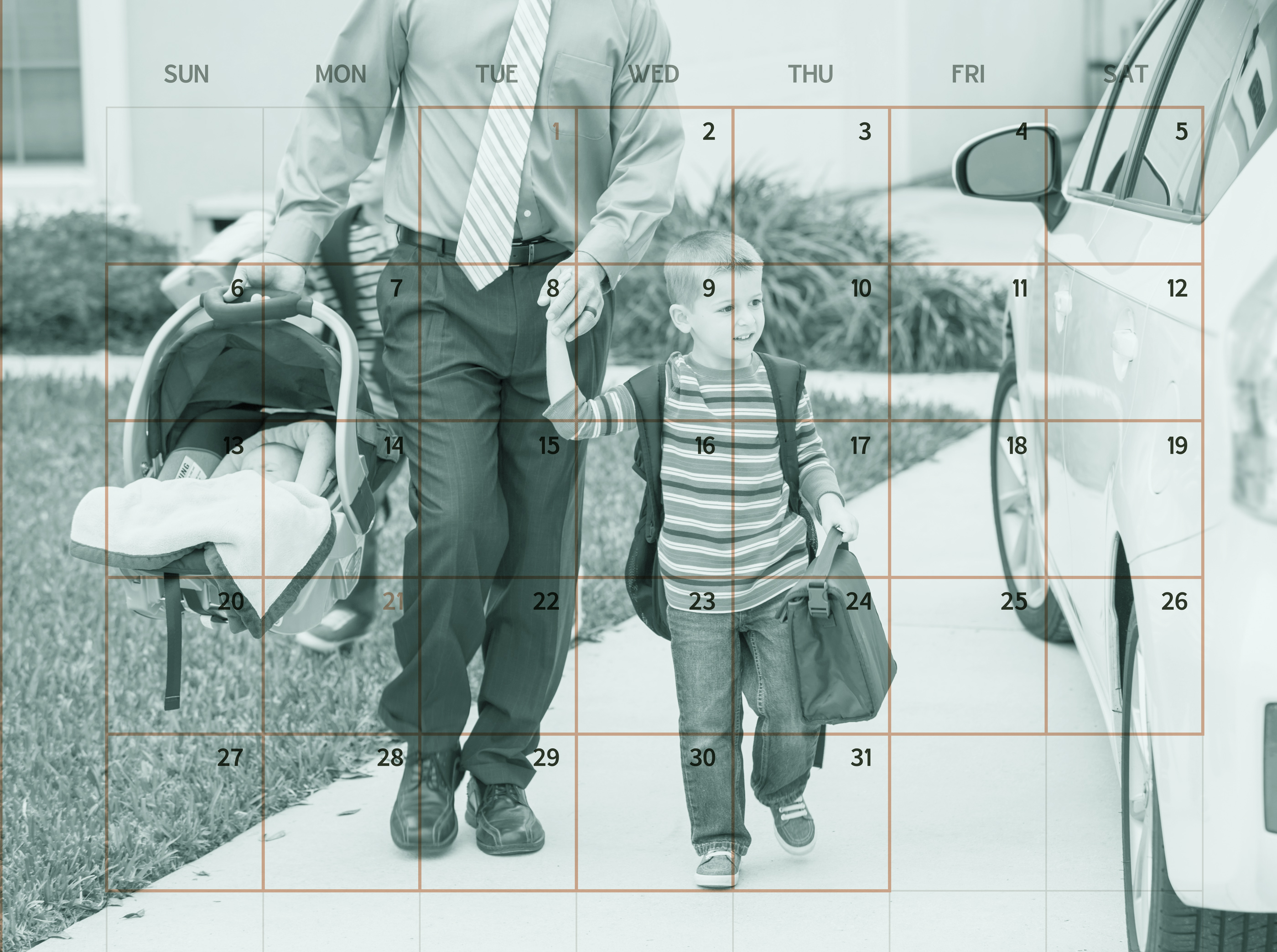calendar on top of father taking kid to school