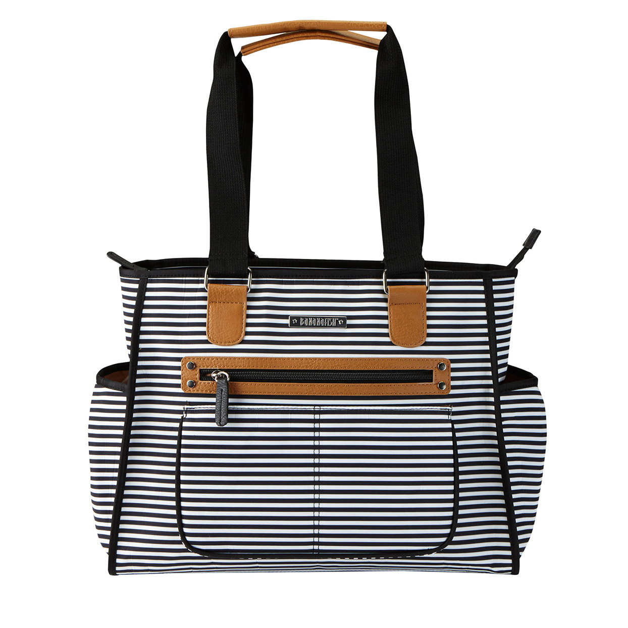 black and white striped Bananafish Tote