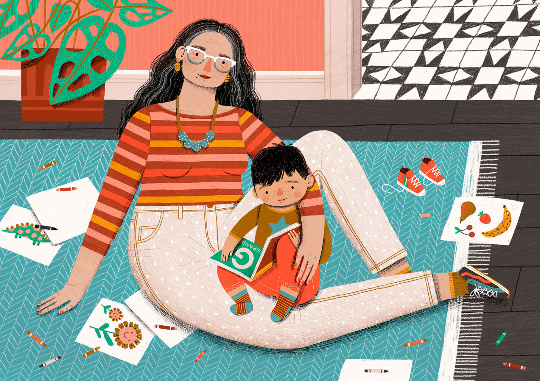 grandmother reading to child illustration