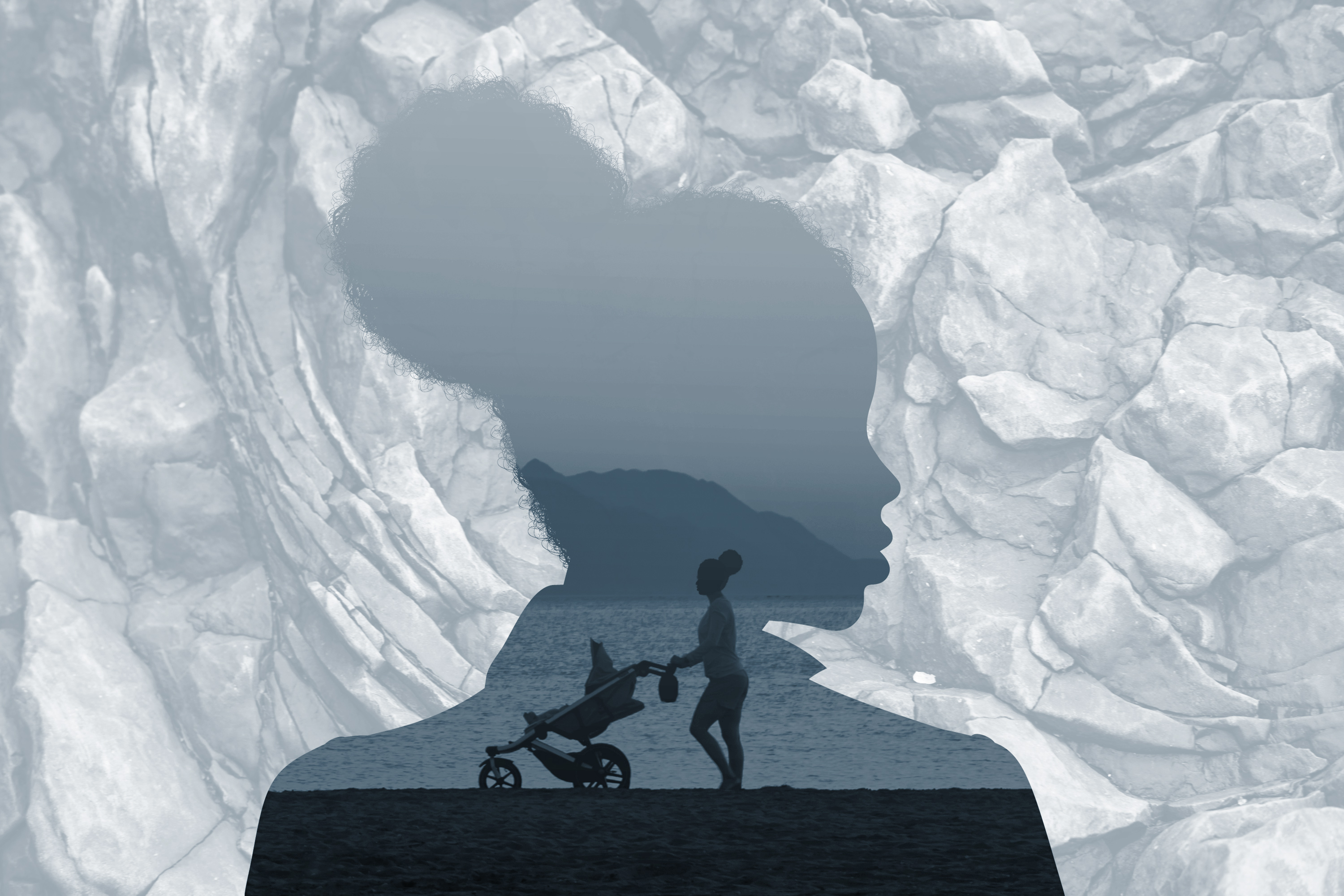 photo illustration of woman's silhouette, woman with stroller on beach, rocks
