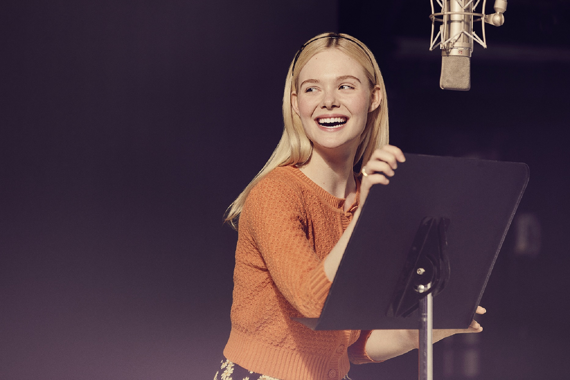 Elle Fanning in Studio Recording