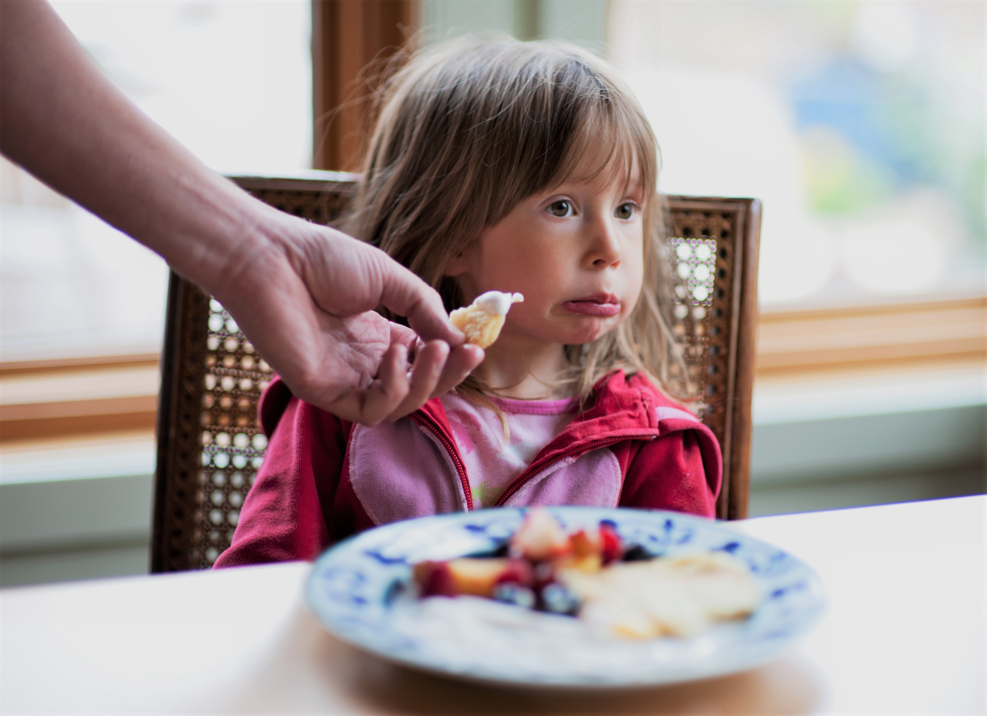 Picky Eater Girl Makes Face When Offered Food