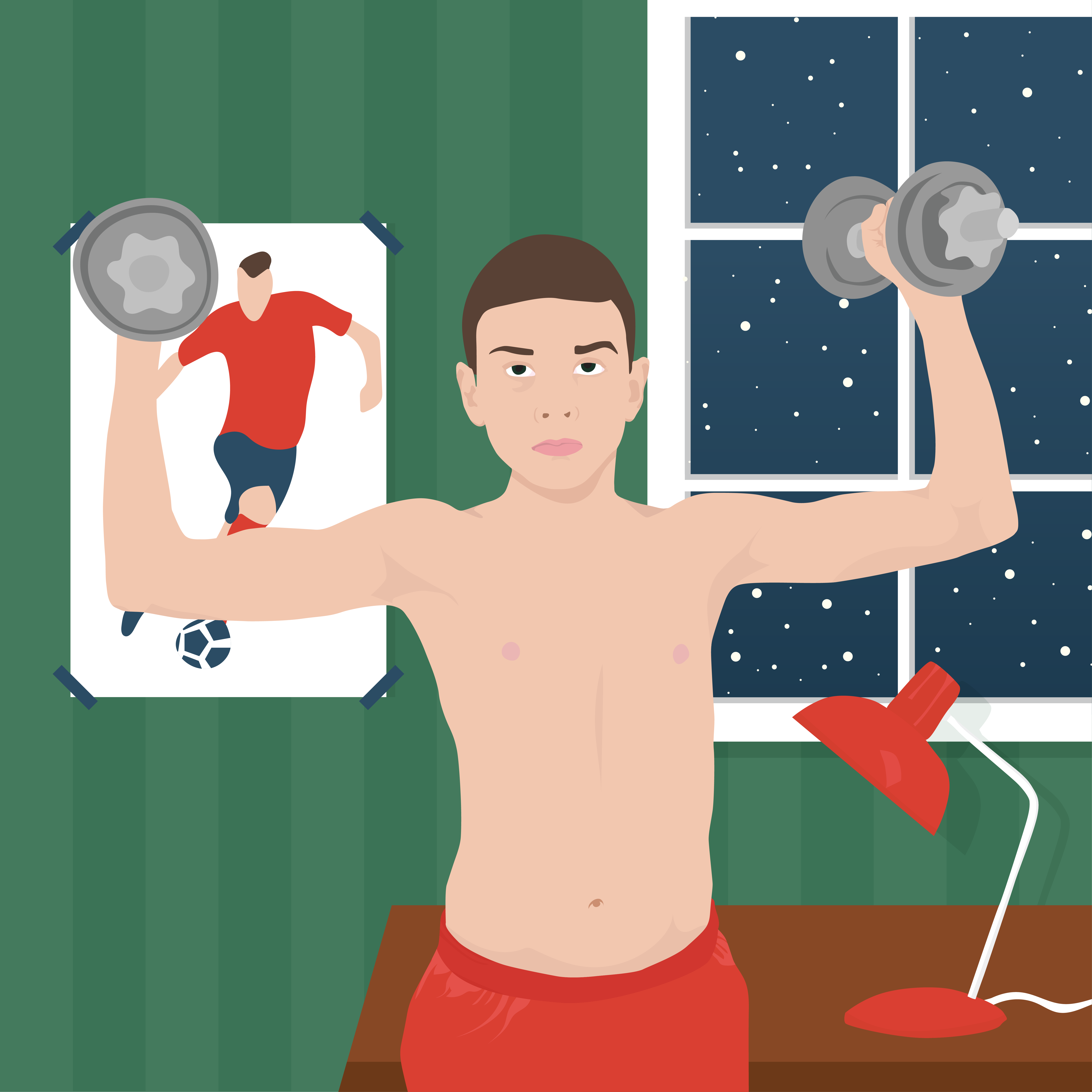 young boy lifting weights at night with poster of soccer player on wall