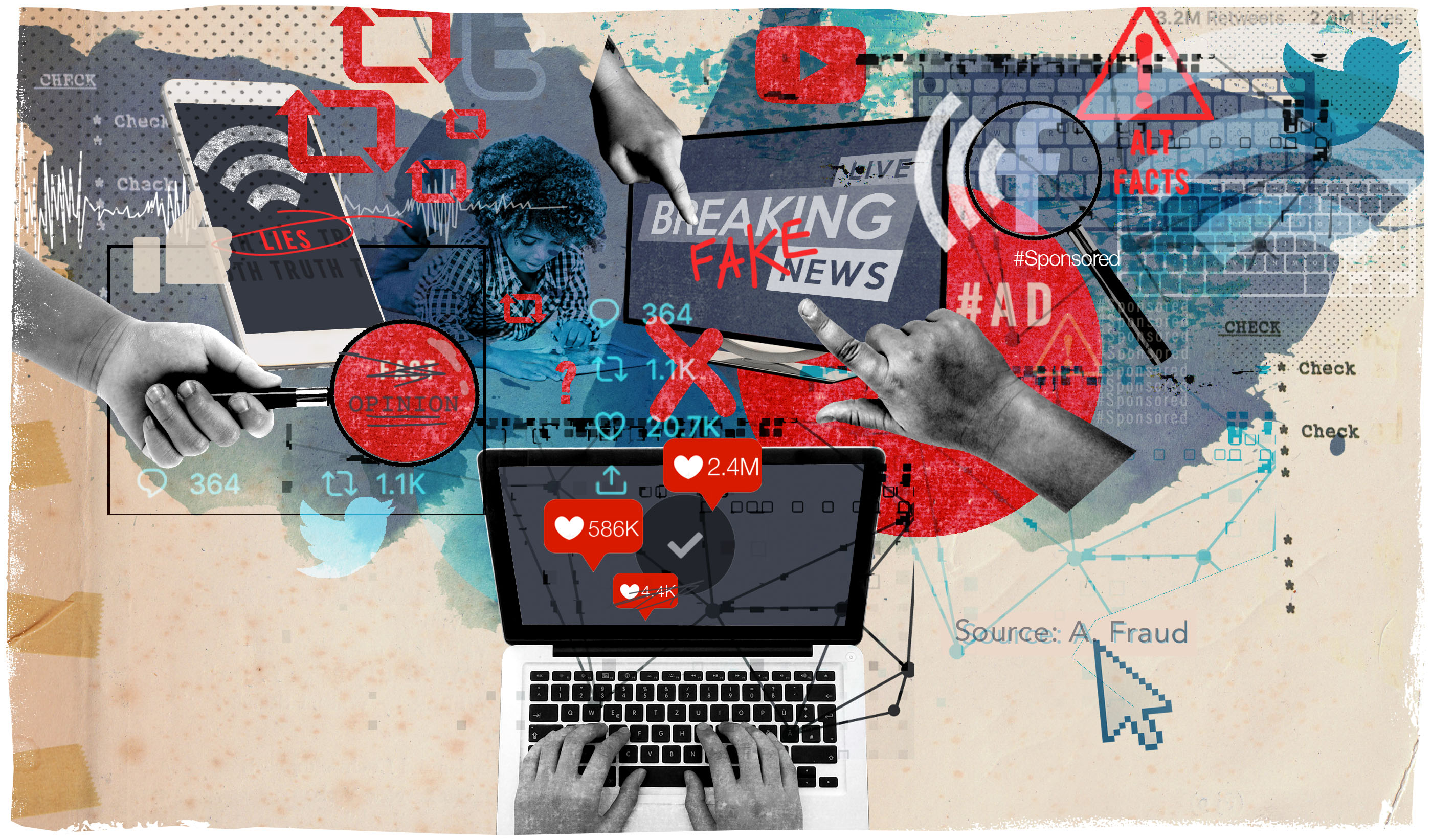 photo illustration with tons of social media elements and information saying fake news