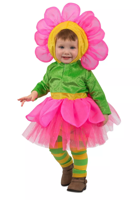 For a sweet toddler girl Halloween costume, consider this vibrant flower inspired by springtime. She'll love the bright pink petals on the skirt and headpiece, striped leggings, and sparkly green fabric.