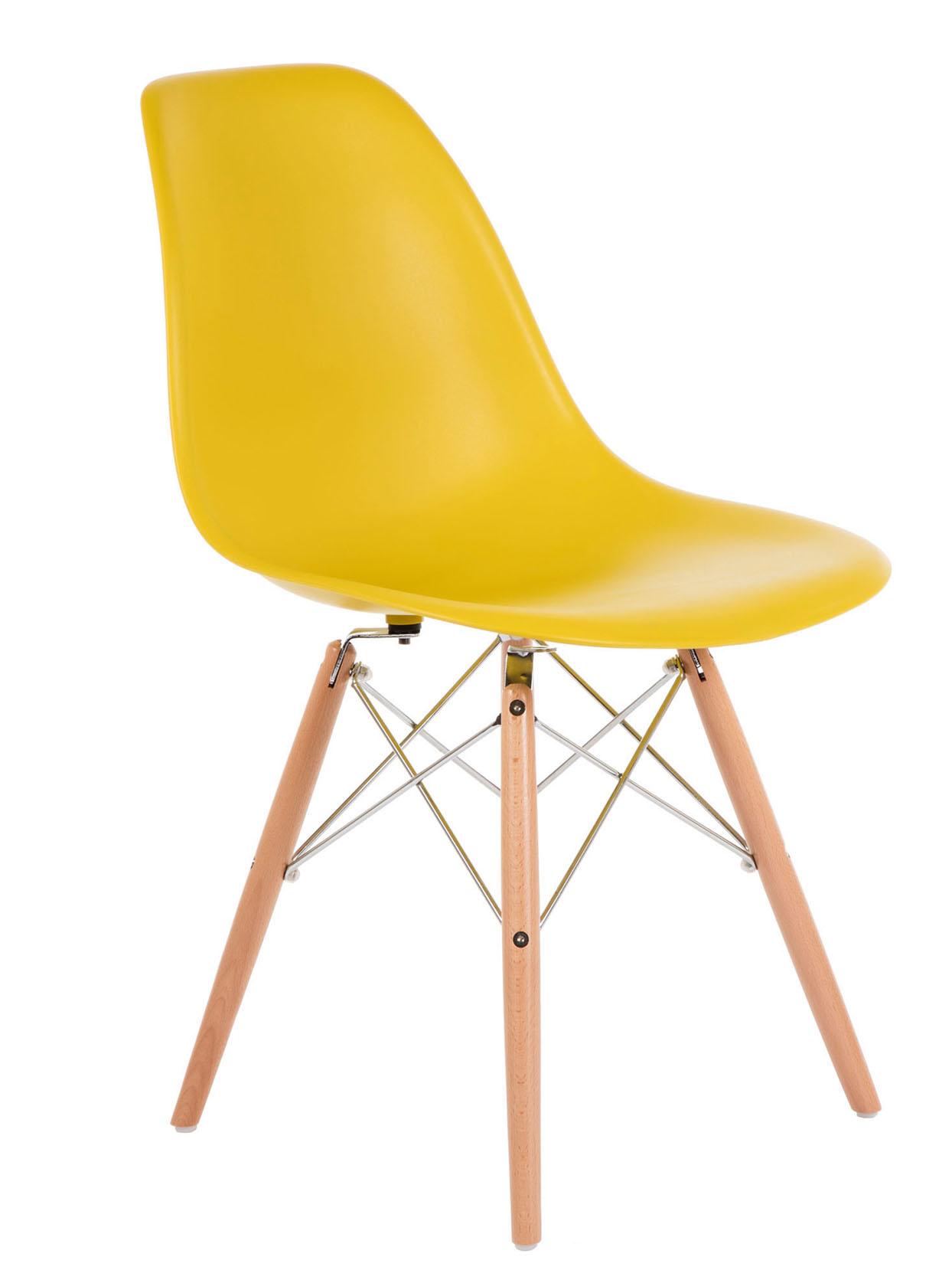yellow eiffel chair with wooden legs