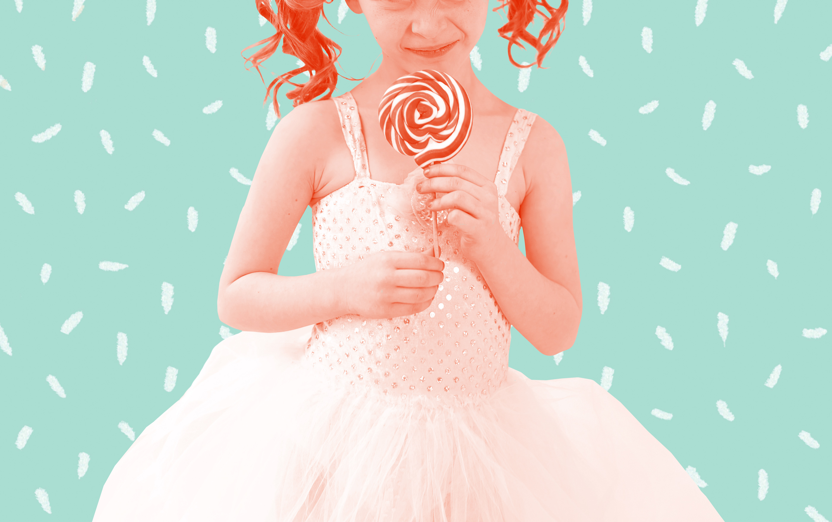 girl in tutu with lollipop in front of sprinkles background