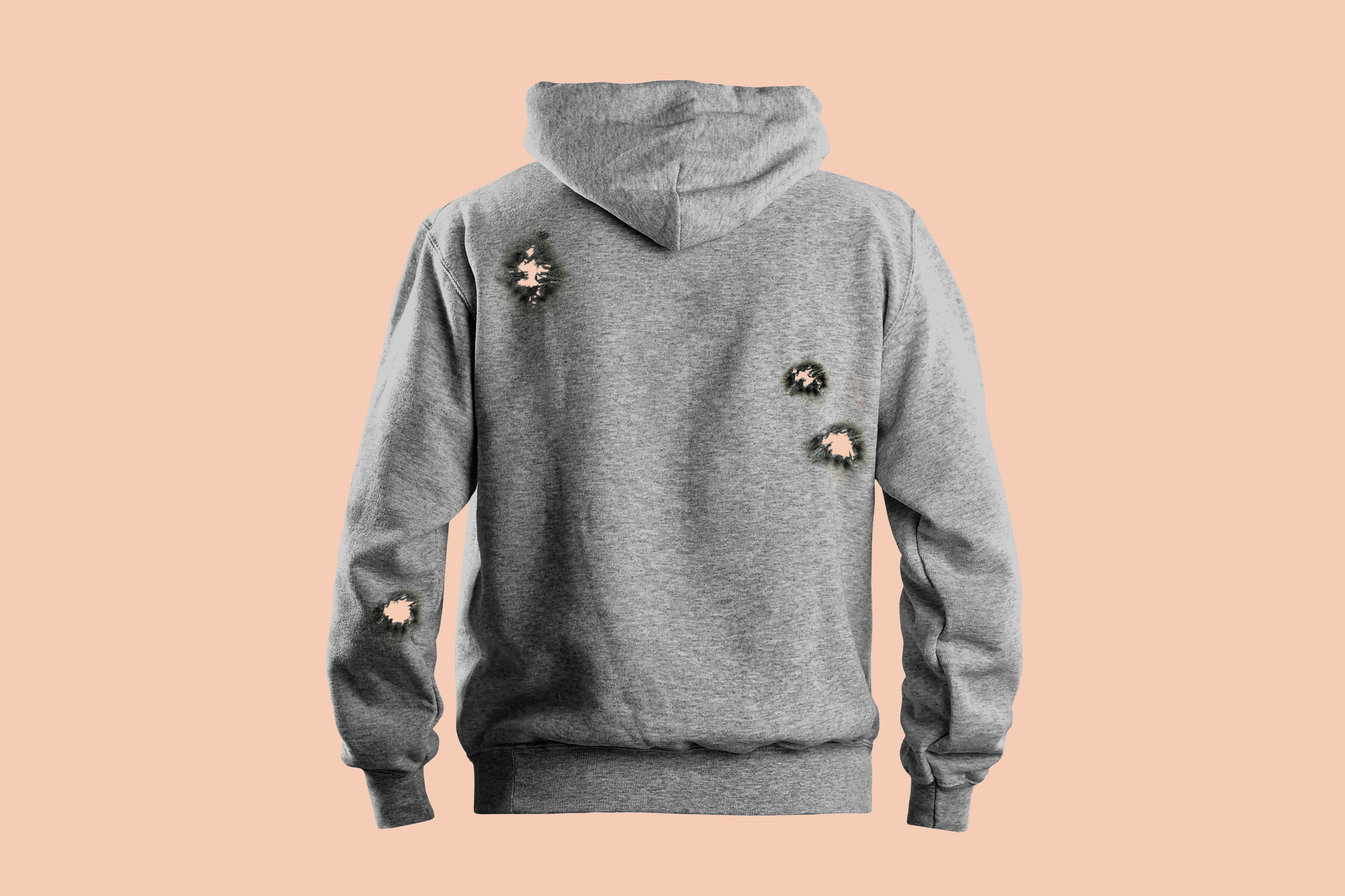 rear view of gray hooded sweatshirt with bulletholes