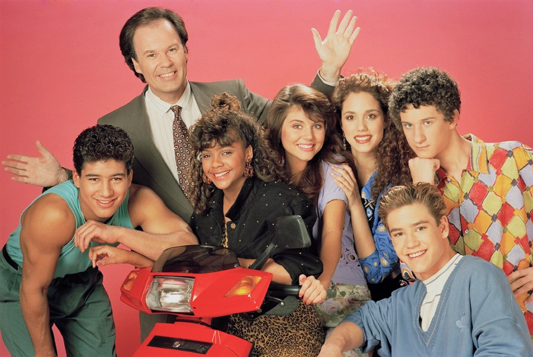 Saved by the Bell Cast Pink Background