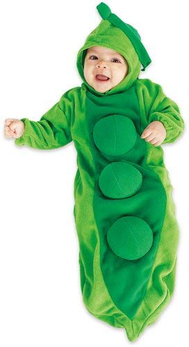 Made from soft green bunting, this pea pod costume is as cozy as it is adorable.