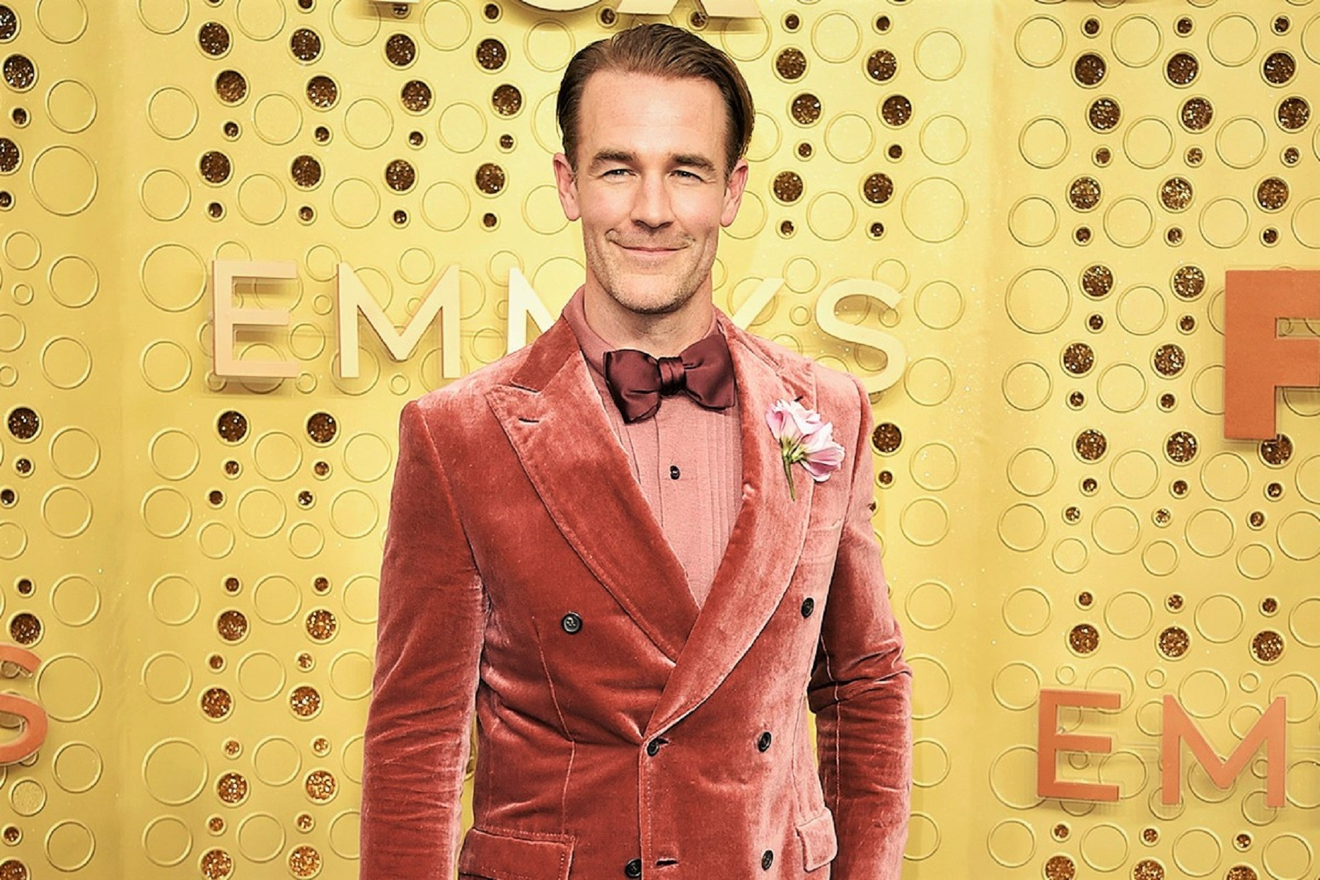 James Van Der Beek in Pink Velvet Suit at Emmy Awards