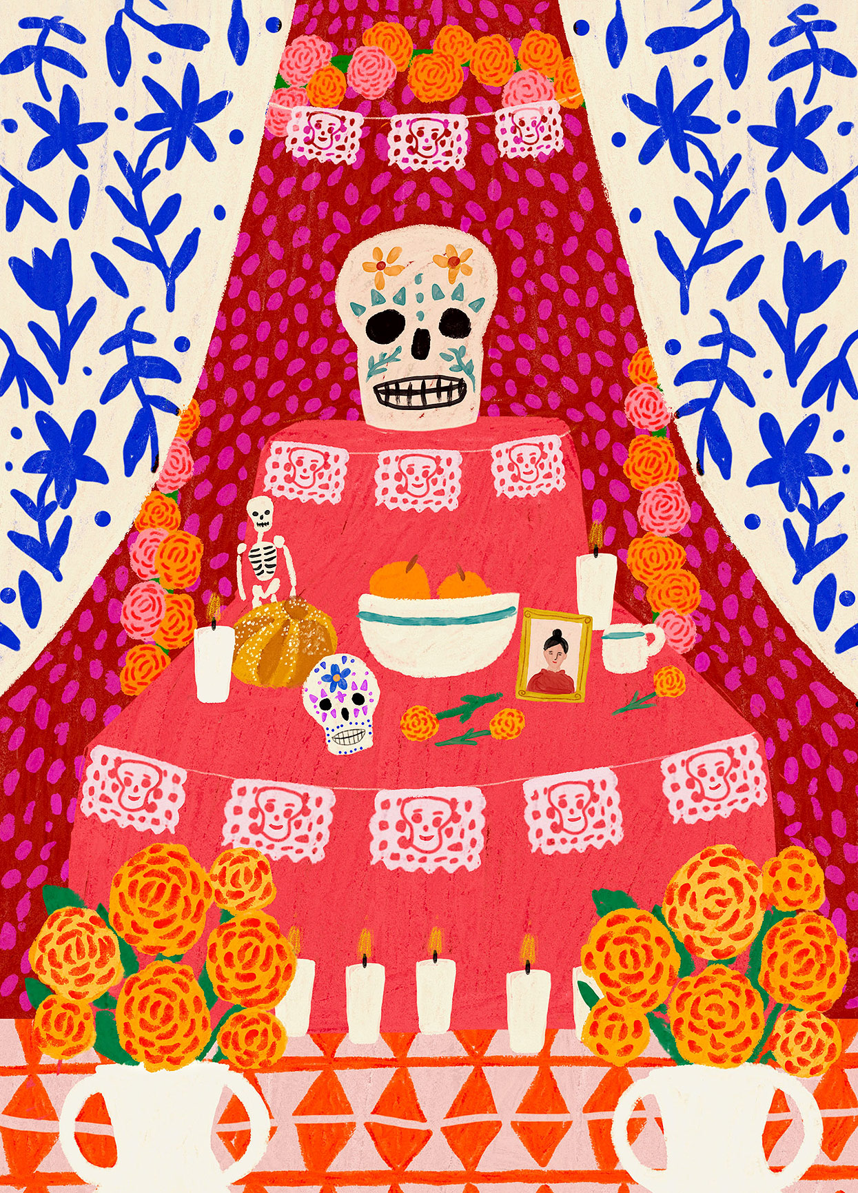 day of the dead illustration with candles and marigolds