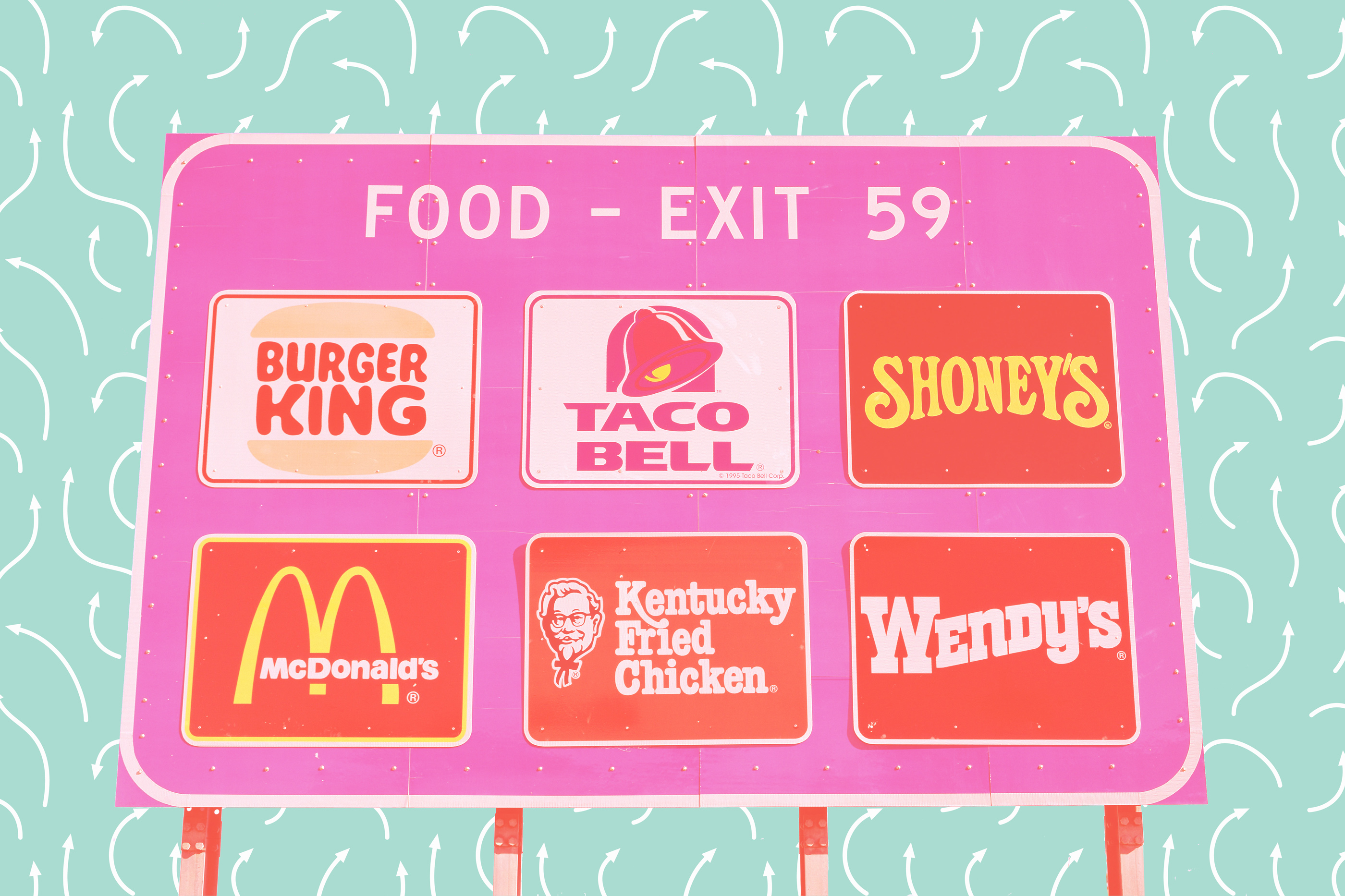 illustration with highway fast food exit sign