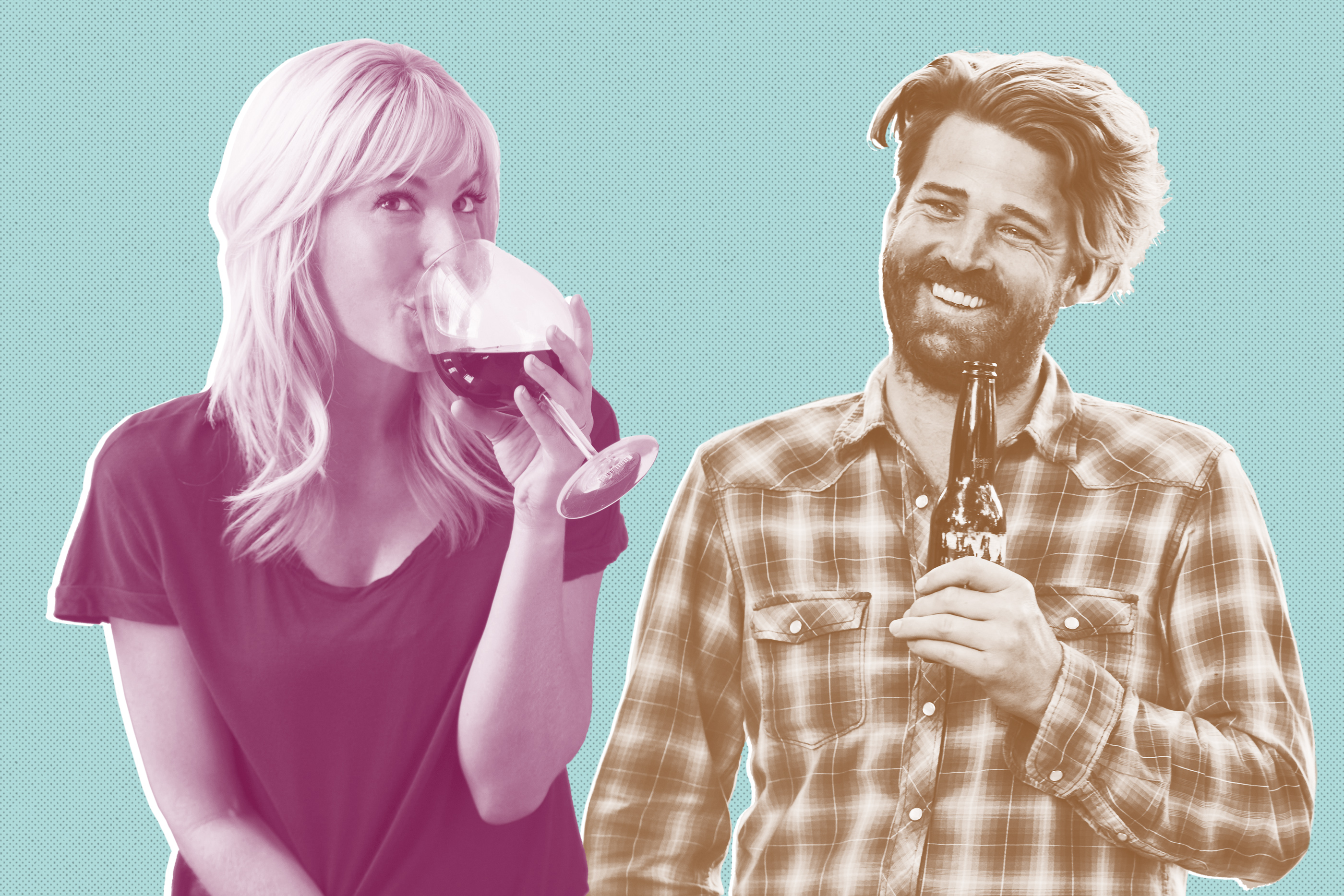 illustration of woman drinking wine and man drinking beer