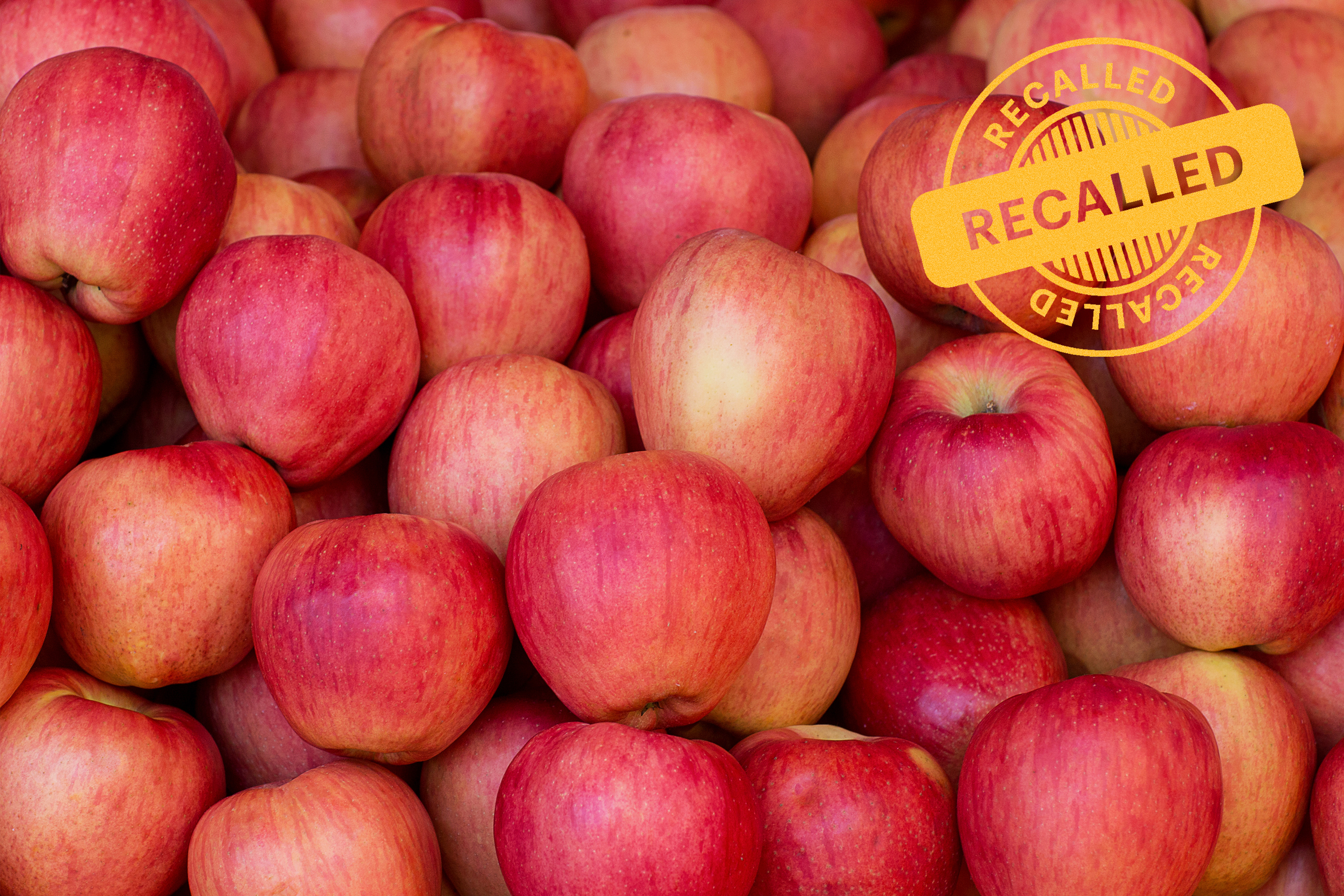 apples with recall stamp