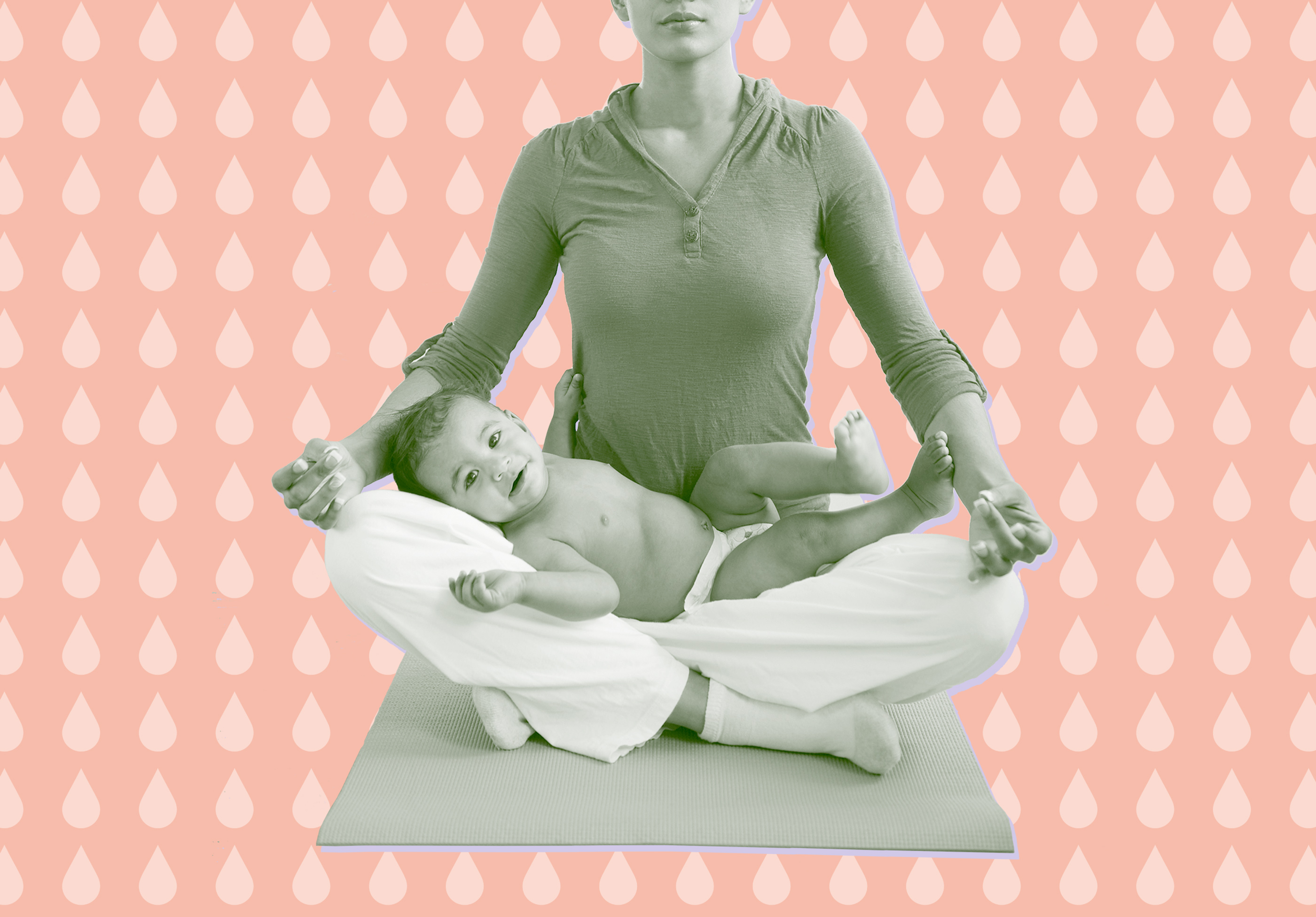 image of woman in yoga pose with baby in her lap