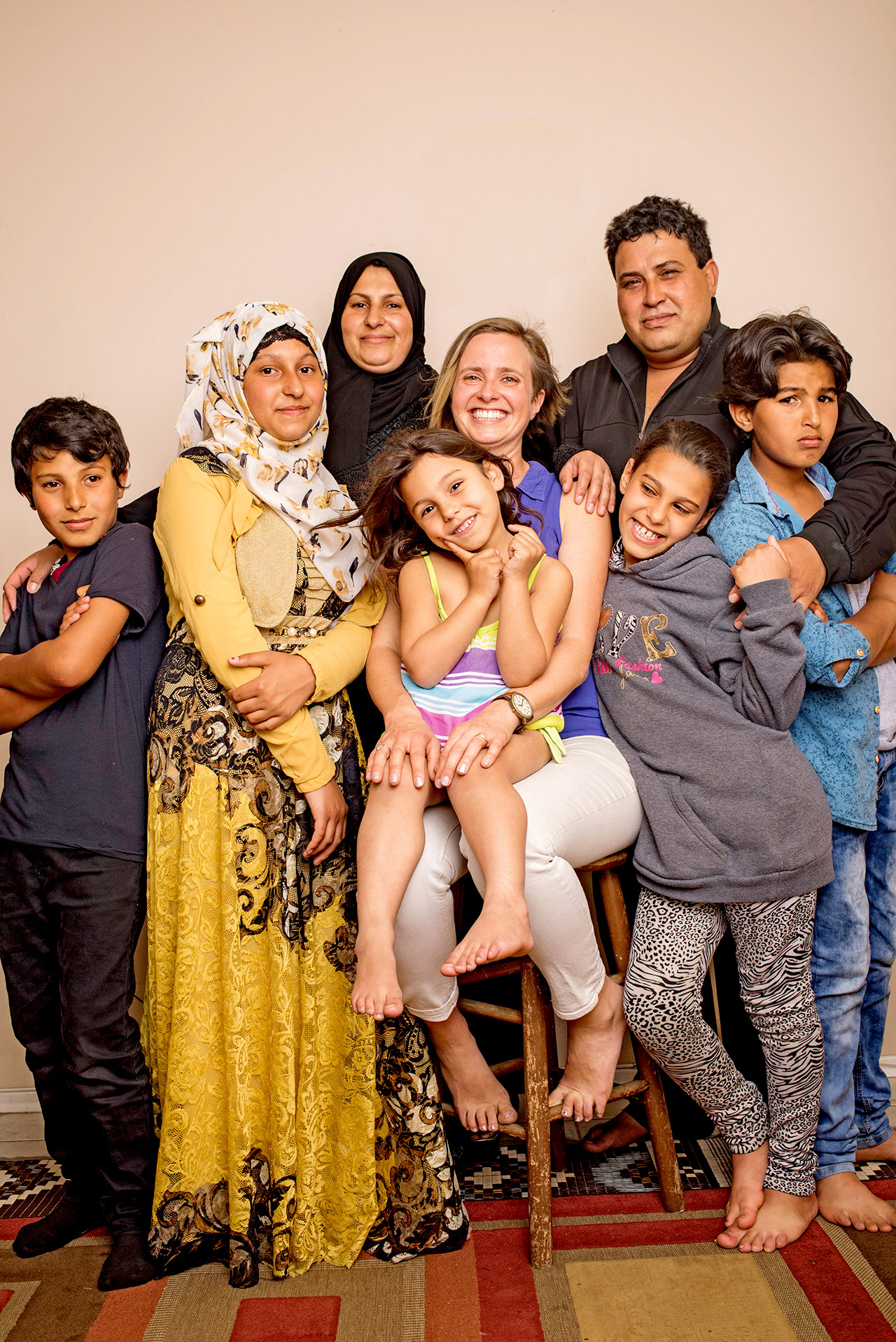 Miry Whitehill with Syrian refugee family