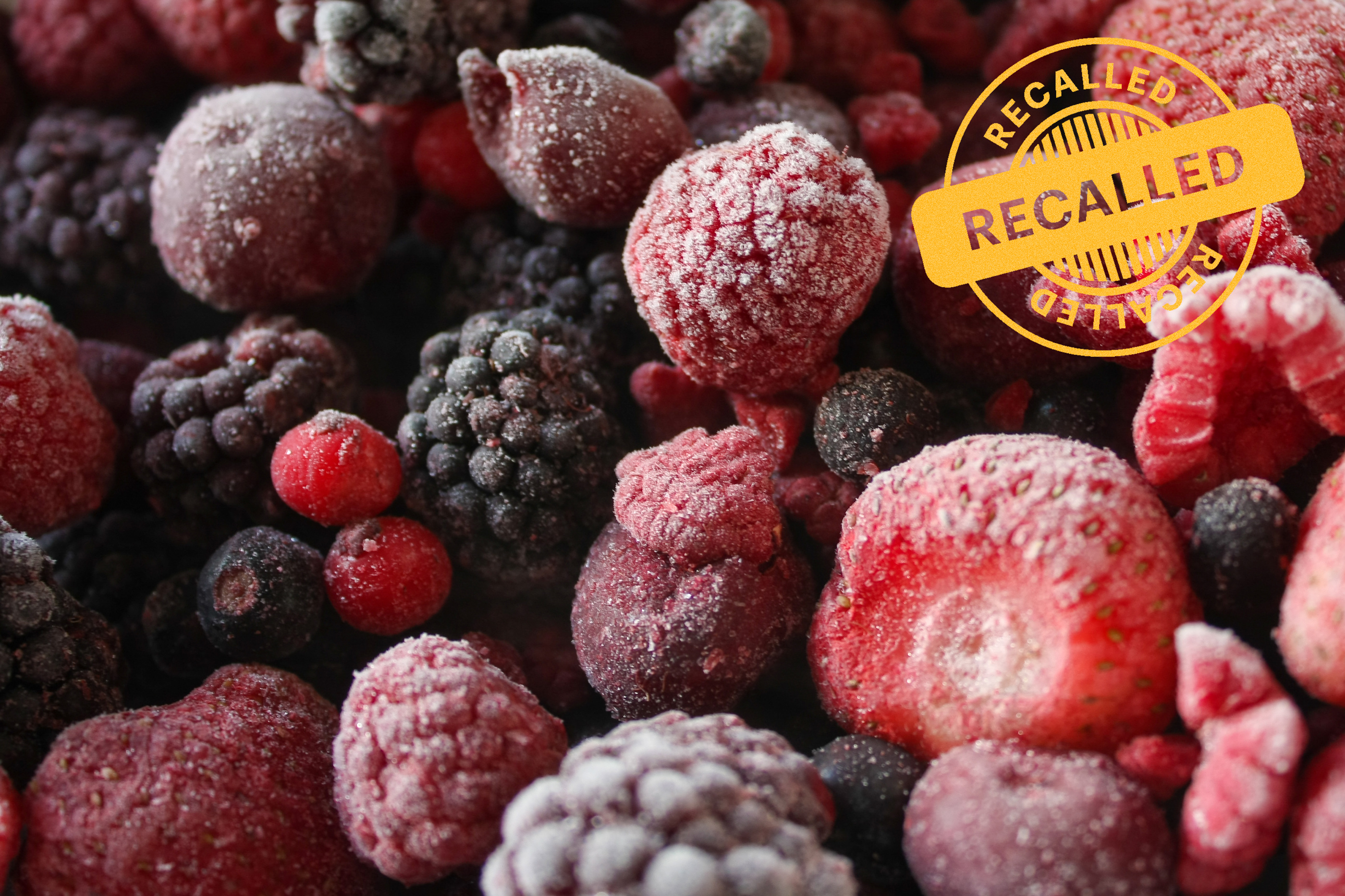 frozen berries with recall stam on them