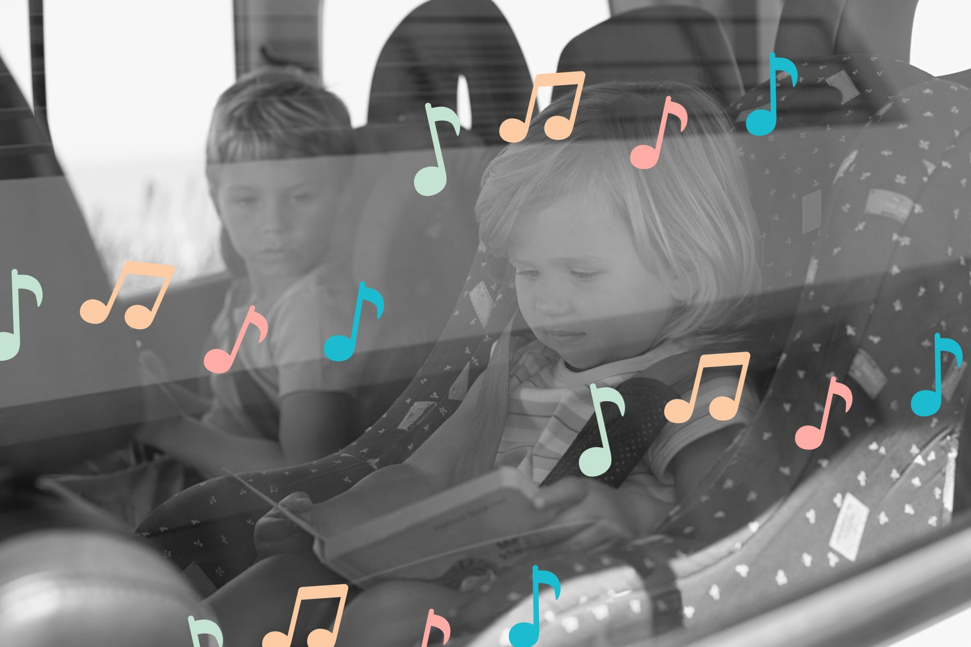 photo illustration of kids in a car with musical notes over them