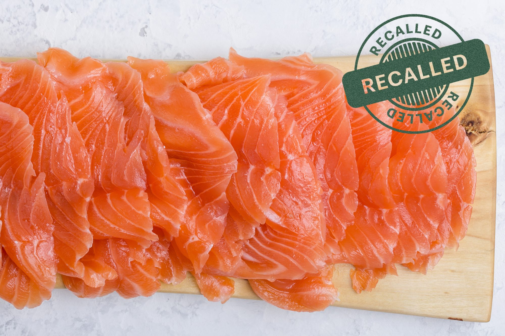 smoked salmon with recall stamp on it