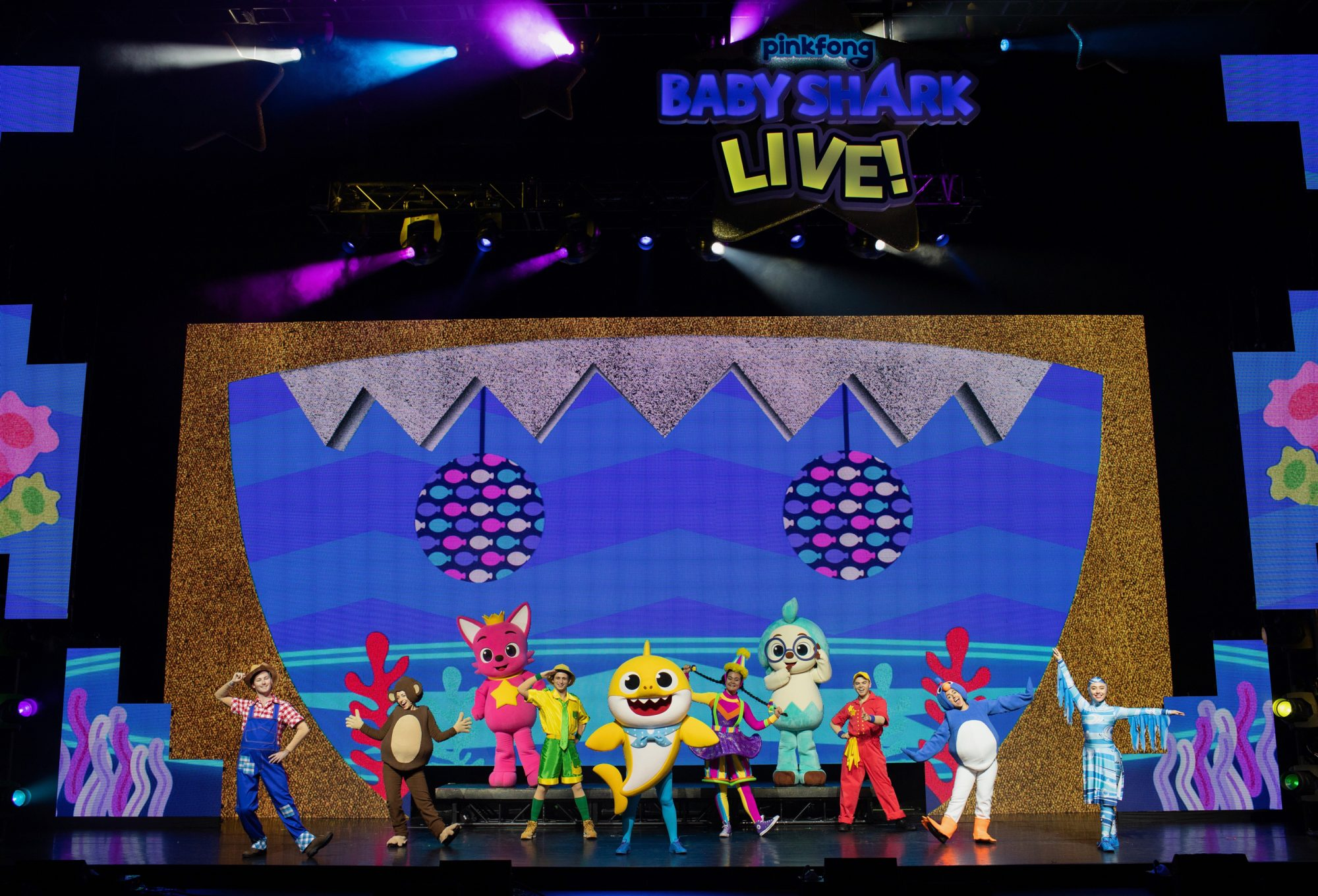 Performers onstage at Baby Shark Live!