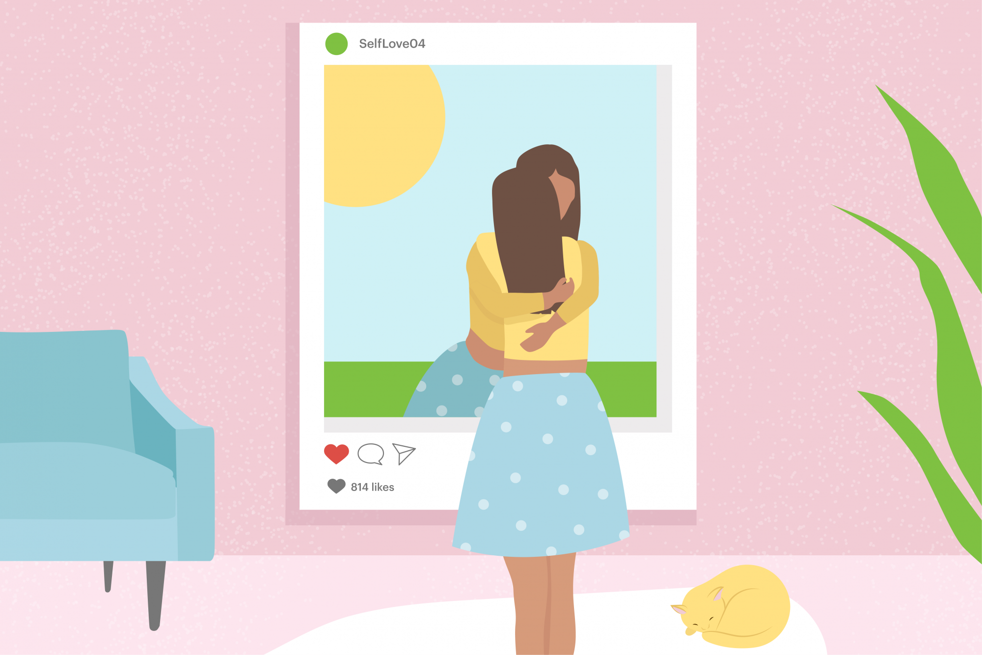 illustration of girl hugging herself through an instagram frame mirror