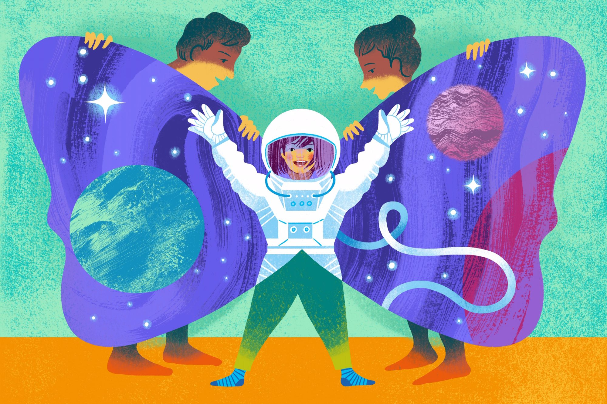 illustration of parents opening child's butterfly wings to reveal outer space and astronaut