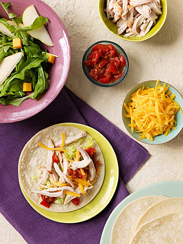 Smoky Chicken Tacos with Pear Cheddar Salad