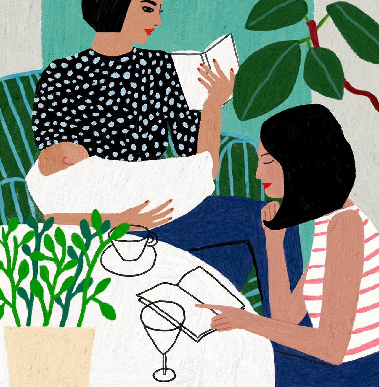 Illustration of two women reading books at a table