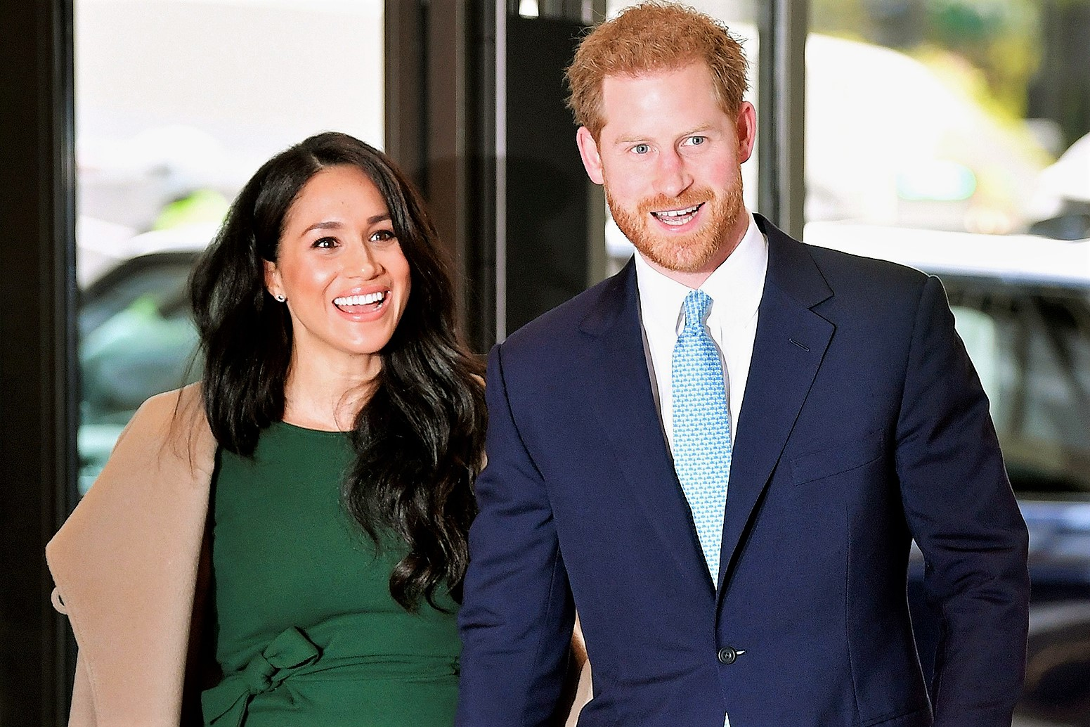 Green Dress Meghan Markle and Prince Harry Walking WellChild Charity