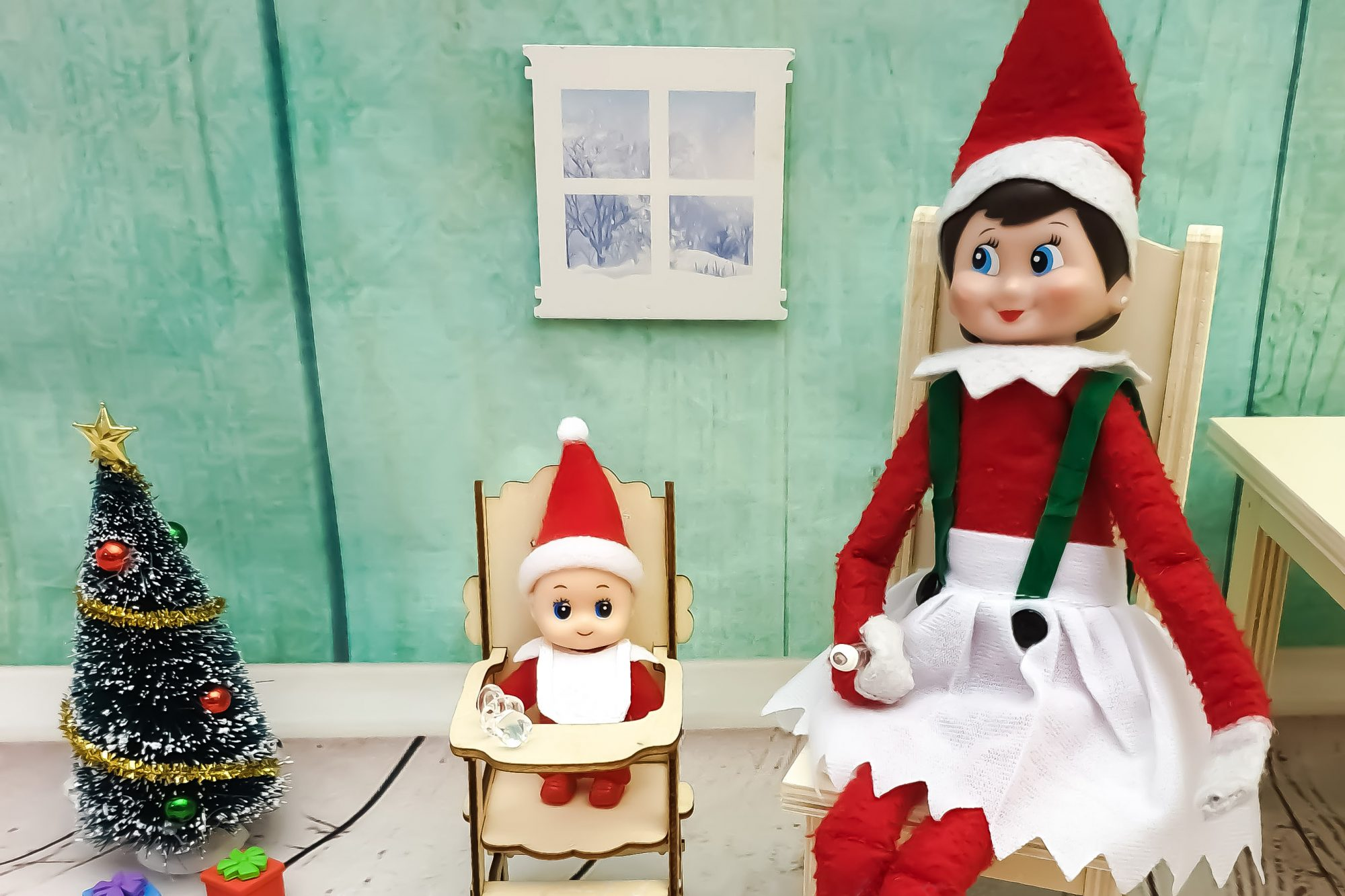 Elf on a shelf with baby