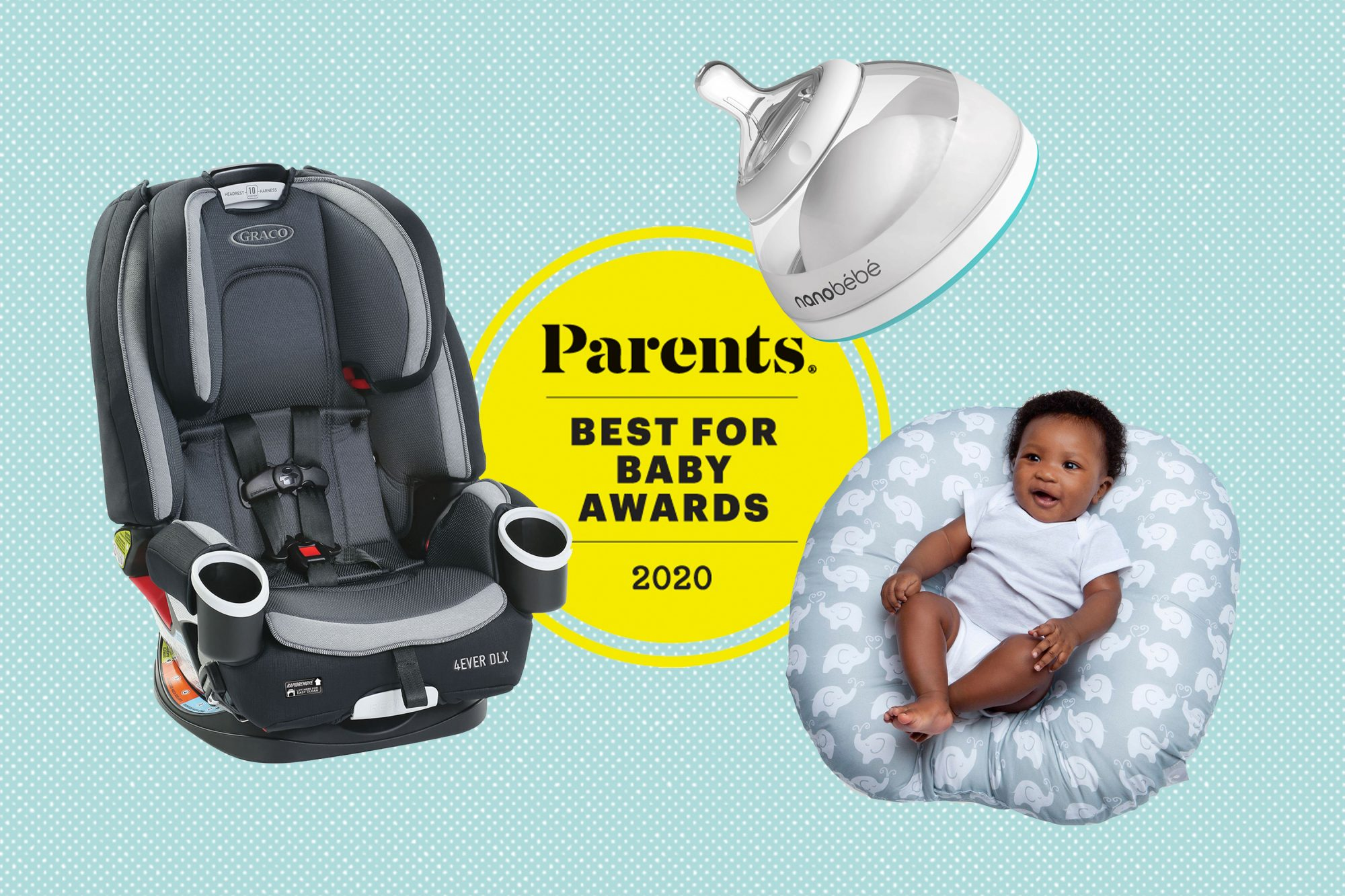 Graco carseat, nanobébé bottle nipple and boppy