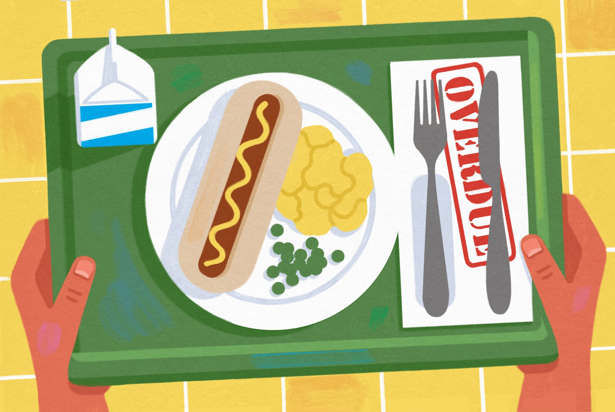 illustration of school lunch tray in which the napkin is an overdue notice