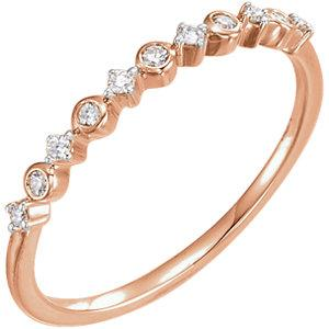 Bezel and princess stackable ring with 1/10 ctw