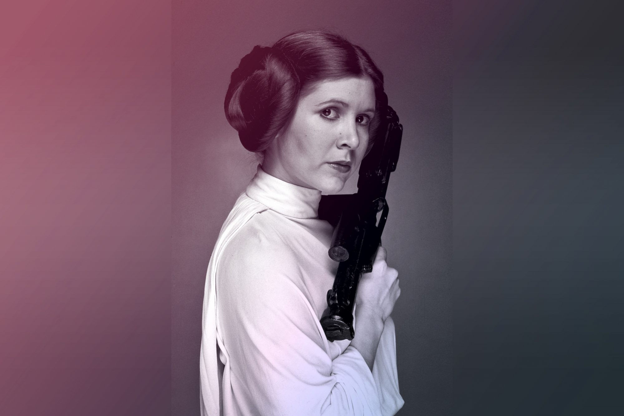 Aactress Carrie Fisher on the set of Star Wars as Princess Leia