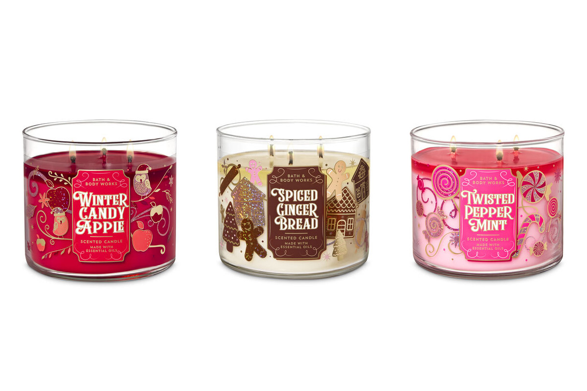 Bath & Body Works 3-Wick Candles Winter Candy Apple Spiced Gingerbread Twisted Peppermint