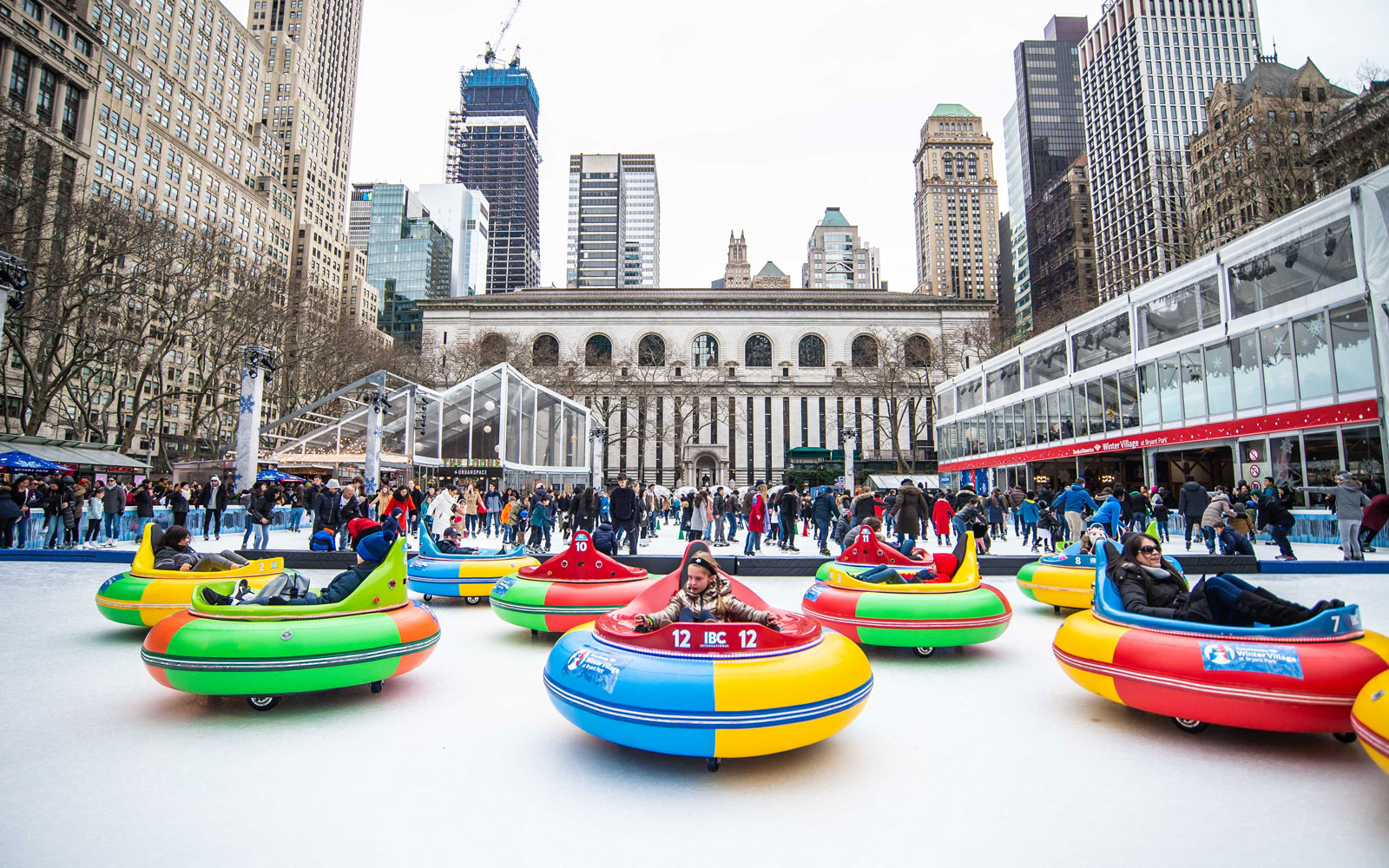 ice bumper cars in bryant park nyc 1