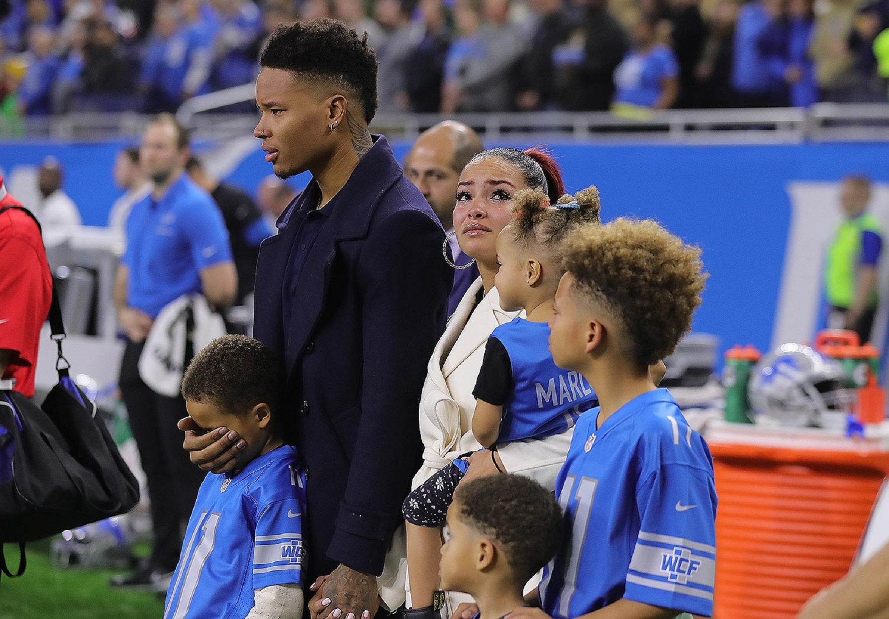 Marvin Jones and Family During Moment of Silence 1