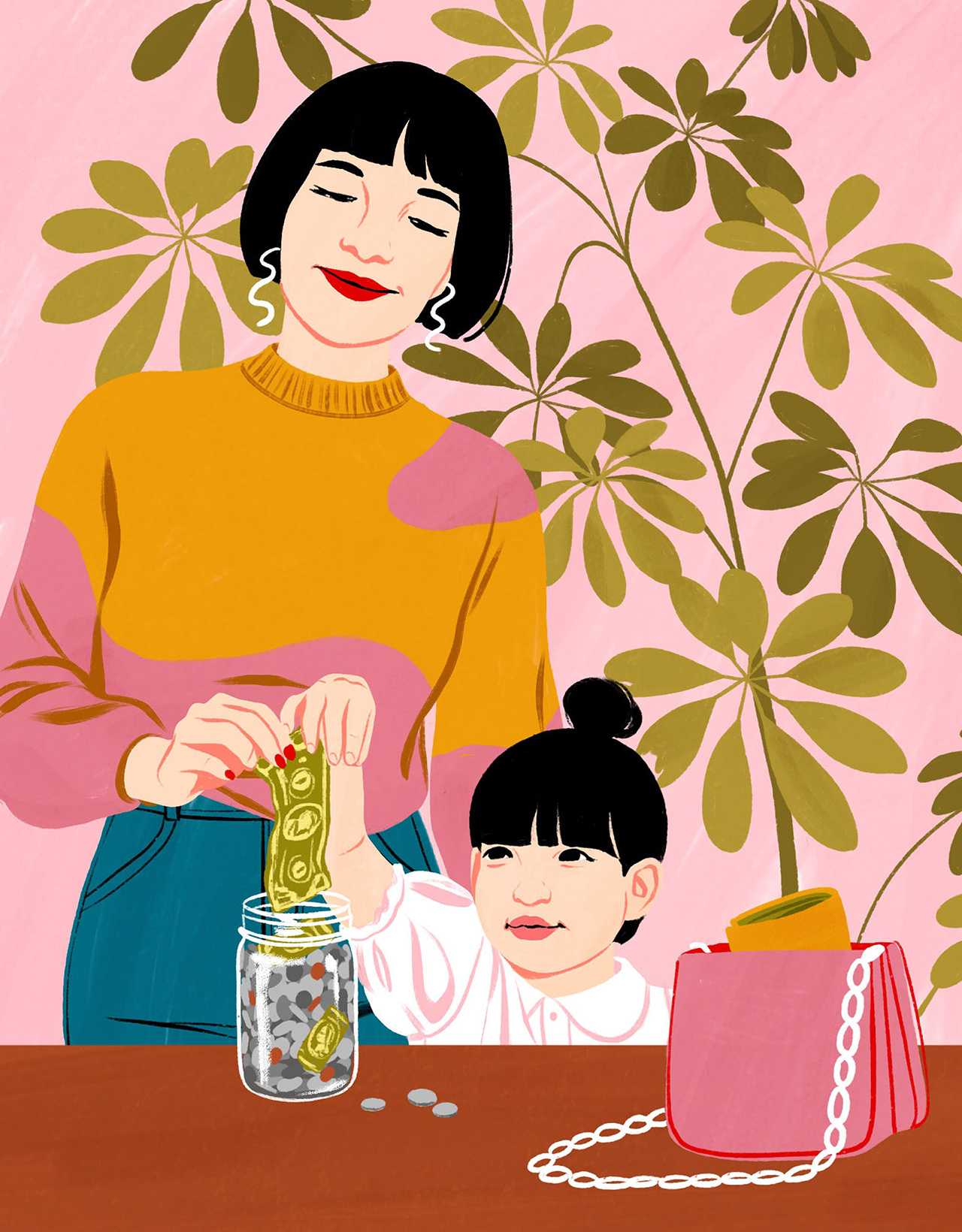 mother daughter placing money into jar illustration